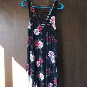 Cotton black dress with pink and red roses